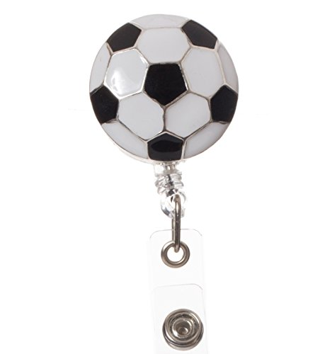 Artisan Eule - Soccerball Retractable ID Badge Reel mit Clip für Busse und Sport Personal (Fußball-retractable Badge Holder)