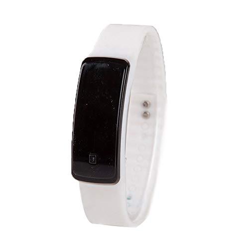 Frauen Uhr-einfache Sport-Digital-Quarz-elektronischer LED-Blitz Armband-Uhr-Mode-Armbanduhr mit Lederarmband Sport Wasserdicht Armbanduhr mit Akku Weiß - Runde, Weiße Glasschirm