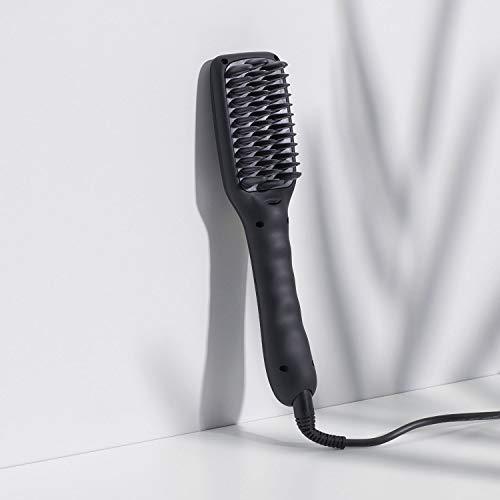 ikoo E-Styler - Ionen Glättbürste in Reisegröße, Haarglätter mit Kamm, Glätteisen für seidig glatte Haare, Bürste, Glättungsbürste mit Keramikplättchen inkl. hitzebeständigem Beutel - Beluga Black