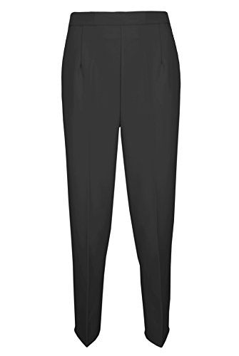 Ladies NEW Half Elastic Waist Pocket Trousers 25inch LEG In 6 Colours Size 10/24 (20, Black)