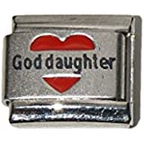 God daughter in red heart laser charm - 9mm Italian charm fits Zoppini, Talexia, Boxing and Nomination style Italian charm bracelets