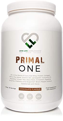 LLS Primal One | 100% grasgespeistes Molkeproteinkonzentrat / All-in-One-Shake mit mittelkettigen Triglyceriden aus Kokosnuss und viel mehr | Schokoladengeschmack | 1,32 kg Wanne/ 30 Portionen -