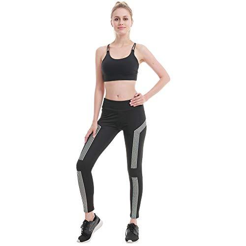 MEIbax Láser Leggings Deportiva Mujeres Moda Rayas