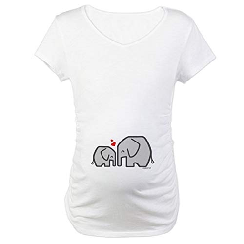 Q.KIM Mujer Camiseta de Maternidad Elasticidad Suave Embarazada Premamá T-Shirt-Elefante, Blanco