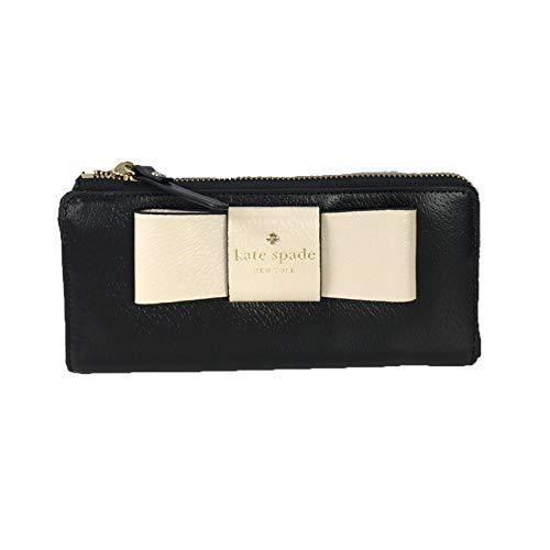 Kate Spade Geldbörse Nisha Bow zweifarbig Leder Reißverschluss umlaufend schwarz/weiches Porzellan (Wallet Kate Bow Spade)