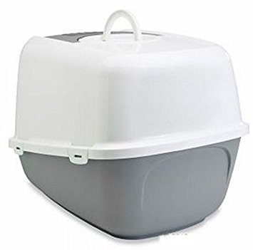 Jumbo-Sized Covered Litter Tray XXL - Has A Top Opening For Quick And Easy Cleaning - Spacious Interior - Ideal For Very Large Cats (Light Grey & White, 66.5 x 48.5 x 46.5 cm (L x W x H)) from Savic