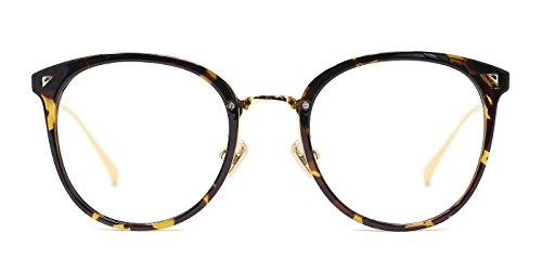TIJN Vintage Runde Brille Ohne Stärke mit Klare Linse Sehhilfen Brillenfassung