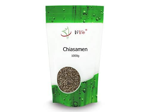 Chia Samen - 1000 g - Chiasamen 1kg - Vegan - Omega 3 - Nährstoffreich & glutenfrei - Premium Qualität - Salvia hispanica - Rohkost - Proteine - Ballaststoffe - ViVio