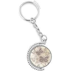 DIYthinker cru élégant Gris Papillon Fond d'écran Rotatif Key Ring Chain keyholder 1,2 Pouce x 3,5 Pouces Multicolore