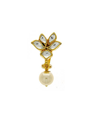 Anuradha Art Golden Finish Designer Classy Studded With Kundan Wedding/Bridal Nose Ring Pin For Women/Girls  available at amazon for Rs.300
