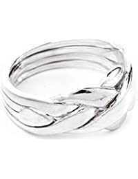 Windalf Puzzle Ring 4 Pieces Zabby H: 1 cm Partner Friendship Ring 925 Sterling Silver