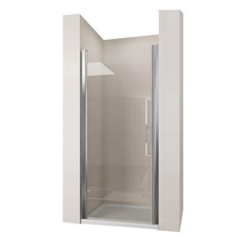 duschtrennwand eckeinstieg Duschkabine Eckeinstieg 76 cm Duschtür Pendeltür Schwingtür Duschabtrennung Echtglas, Höhe 185cm
