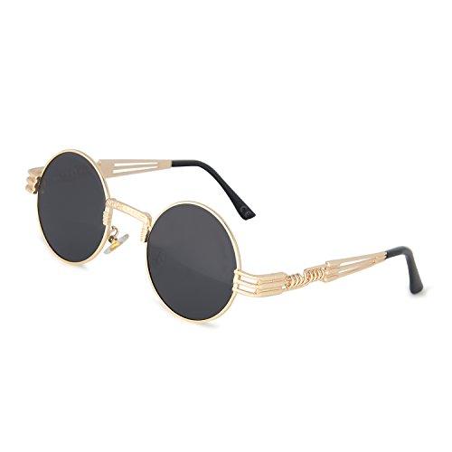 AMZTM Retro Steampunk Verspiegelt Sonnenbrille Klassischer Kreis Hippie Brille für Damen Herren Polarisierte Linse Runder Metallrahmen UV400 Schutz Alte Mode Brille (Golden Rahmen Grau Linse, 49)