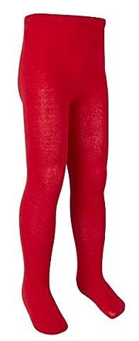 I2i Filles riche en coton uni en tricot Collants - rouge - 5-6 ans