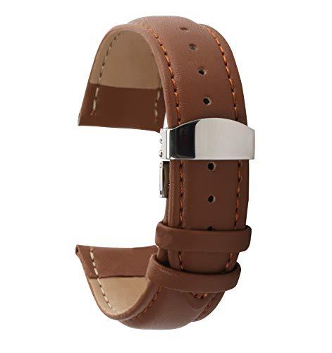 Autulet 18mm Damen Leder Uhrenarmband Hellbraun (Coach Lederband Damen-uhr)