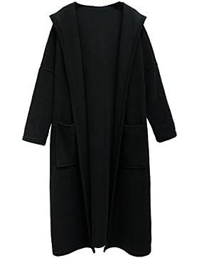 Il Manicotto Lungo Di Mac Di Colore Solido Del Cappotto Del Cappotto Della Signora DFUCF Caduta Il Nero Di Modo