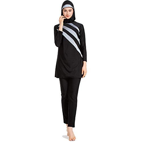 Grsafety Mujeres Musulmanas Traje de baño - 3 Piezas Modeste Burkini Completa Muslim Swimwear con Hijab...