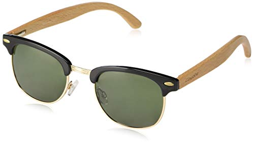 Polarized Sunglasses with Natural Wood temples - Matte Black-Gold/Nature Wood/G-15