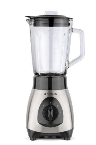 grossag Standmixer mit Glas-Krug MX 19  0 8 Liter  Edelstahl gebürstet-Schwarz  250 W