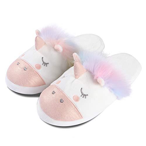 Tacobear Unicorn Slippers Faux Fur Slippers Soft Plush Fluffy Cozy Slip On Slippers Bedroom House Slippers for Women Girls
