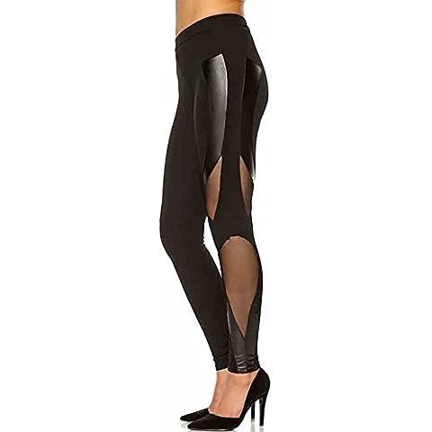 Happy Lily Mujer Low Rise Skinny Leggings Patchwork neta hilo de piel Workout Tight Capri–Mallas Pantalones Casual pantalones largos, mujer, negro,
