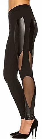 Happy Lily Femme Basse Skinny pour Femme Patchwork Cuir fil Net pour femme sport femme Capri Pantalon Décontracté pour Homme Coupe longue XS Noir