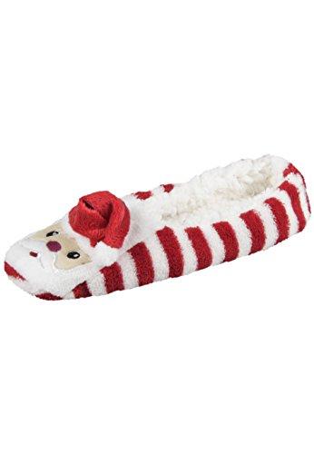 Capelli New York Flauschige, Kuschelige 3D Hausballerinas, Hausschuhe, Haussocken 'Fluffy Santa' Red Combo, M/L (Rot-combo-schuhe)