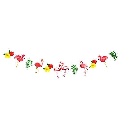 Haodou dekorative Banner Flamingo Party Ornament Cartoon Papier Geburtstag Hintergrund Dekoration Hawaii Thema Banner Papier Party Dekoration Banner 2,5m