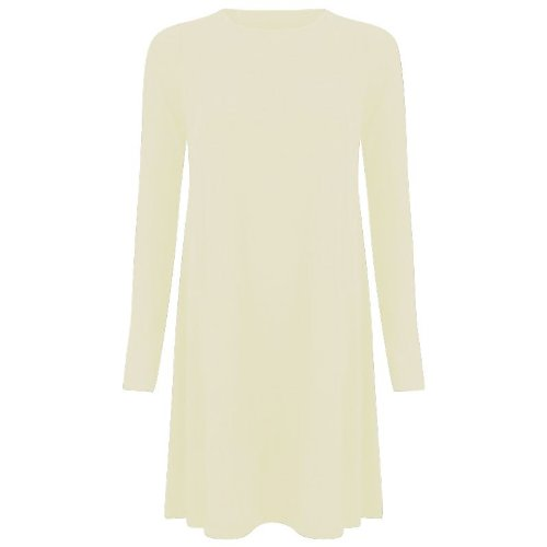 Stretch pour femme à manches longues, un Line Robe Patineus'évasée Swing des neiges Taille 36-50 Crème