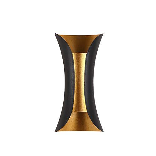 LED-Wandleuchte Innen Außen Modern Wandlampen Schwarz Gold Aluminium Aussenlampen Up Down Außenwandleuchte Wasserdichte IP44 für Wohnzimmer Schlafzimmer Wänden Gang Treppen Flur Warmweiß Licht 10W