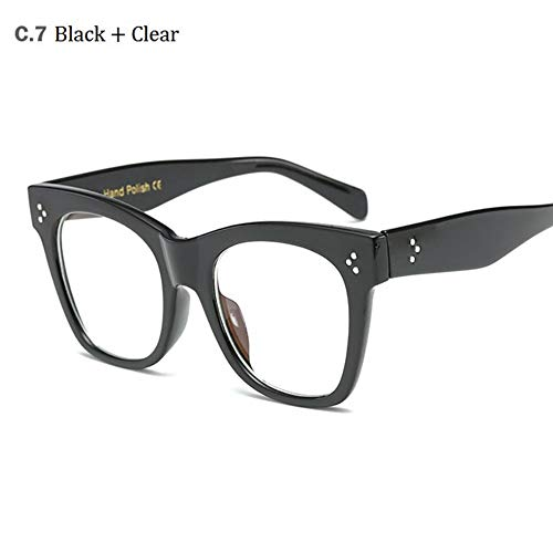 MoHHoM Sonnenbrille Hot Cat Eye Berühmtheit Kim Kardashian Sonnenbrillen Sonnenbrille Frauen Lady Übergroße Frame Brille Schwarz Klar