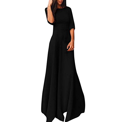 Honestyi Frauen Damen halbe Hülse bodenlangen Kleid beiläufige lose Partykleid Outfit ()