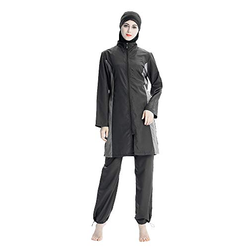 Mr Lin123 Muslim Damen-Badeanzug, 3 Stück, Muslimische Bademode, Burkini Surfanzug mit Badekappe, Schwarz, XXXX-Large