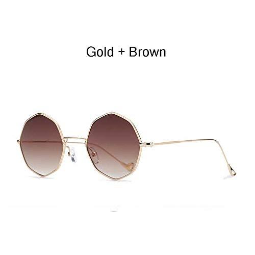 ZJHZJH Polygon Sonnenbrille Hexagonal Damen Herren Vintage Luxus Brillenglas Sechseck Metallrahmen Eyewear