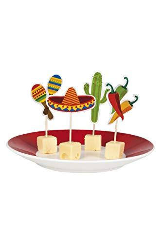 Käsepicker Mexio Partypicker Fiesta Mexicana mit Sombrero Pepperoni Rassel Kaktus