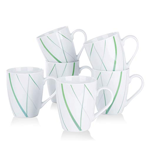VEWEET Porzellan Kaffeebecher 'Aviva'6-teiligSet | Füllmenge 350 ml, Höhe 10,2 cm| Ergänzung zum Tafelservice 'Aviva'|Teetassen für 6 Personen
