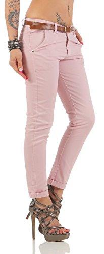 Fashion4Young Damen Skinny Chino Pant Hautenge Treggings Stretch-Stoff Damenhose mit Gürtel 11146-altrosa