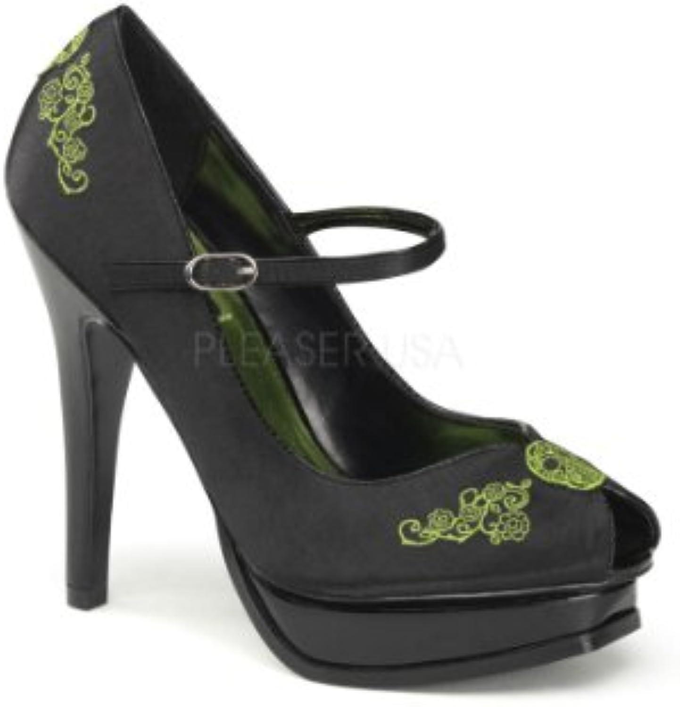 Funtasma PLEASURE-12 Blk Satin-Lime Green Embroidery UK 5 (EU 38)