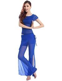 H: oter Kurzarm Gaze Belly Dancing Komfortable Tanzen Kostüme Set , Preis / Set - blau