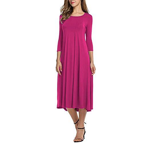 Damen Kleider Lang Dasongff Frauen Elegant O Neck Midikleid Basic Kleid Brautjungfernkleid Halbe Hülse Abendkleider Ballkleid Partykleid Swing Dress T-Shirtkleid