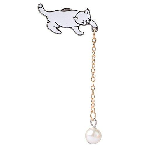 Legierung brosche für kleidung Abzeichen Brosche Dekoration Kreative Hut Brosche Katze und Perle Geschenk für Frauen Männer ()
