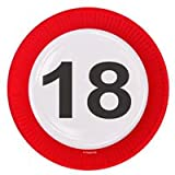 8 PAPPTELLER 23cm MOTIV SCHILD MIT DER ZAHL 18 Geburtstag 18
