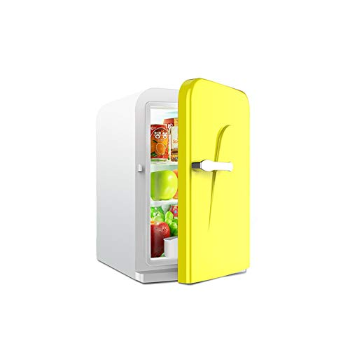 LRHYG Tragbar Auto Kühlschrank Kühlen Und Wärmen Mini Kühlschrank Mit AC/DC Adapter Für Reise Picknick Camping Zuhause Benutzen 16L Gelb Mit Griff
