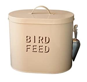 Cream Enamel Metal Bird Food Storage With Scoop by The Contemporary Home