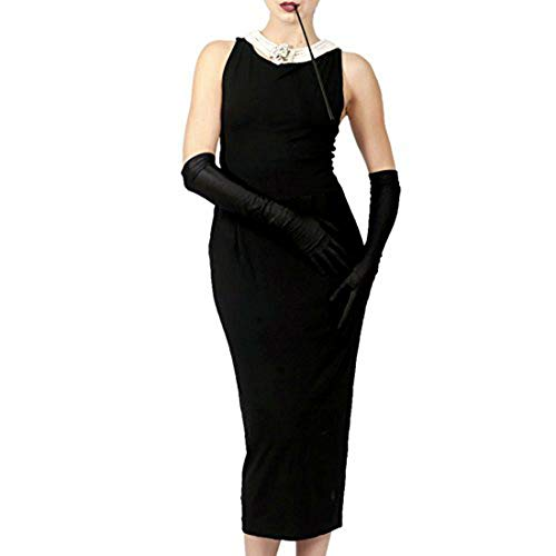 Baumwollschwarzes Kleid Kostüm Damen Audrey Hepburn Vintage Breakfast bei Tiffany (L with Gift Box) (Kostüm Audrey Hepburn Breakfast At Tiffany's)