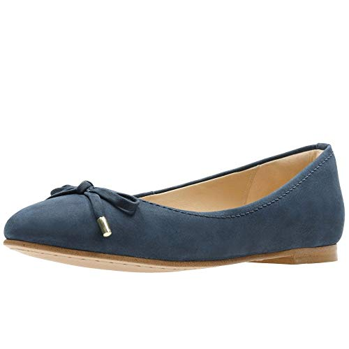 Clarks Grace Lily Bow Trim Ballet Pumps 5.5 D (m) UK/39 EU Marineblau Nubuk -