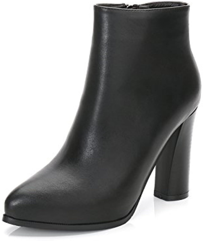 RUGAI-UE Botas toscas Martin, tacones altos de otoño invierno, botas cortas, zapatos de mujer puntiagudos, Negro...