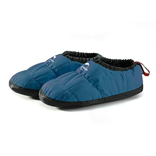 Tentock Unisex Innen/Draussen Wasserdicht Leicht Camping Schuhe Atmungsaktiv Wärmedämmung Baumwolle Schuhe für Zuhause Büro Garten Zelt(dunkelblau, M(38-39)) -