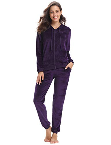Aibrou Womens Tracksuit Zip up Hoodie And Sweat Pant Twinset Long Sleeve Solid Velour Sports Coat Set