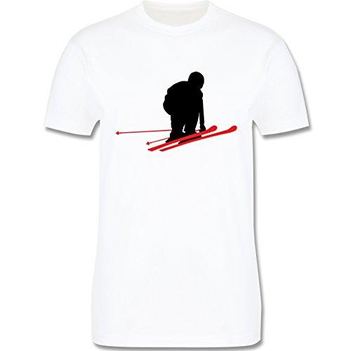 Wintersport - Abfahrt schwarze Piste - Schuss - Herren Premium T-Shirt Weiß